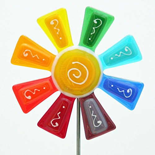 Rainbow Stake - Glassworks Northwest - Brilliant Rainbow Flower Stake - Fused Glass Garden Art