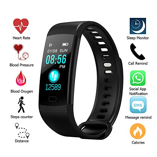 PrimeSports Fitness Tracker with Blood Pressure Monitor, Waterproof with Activity Tracker, Heart Rate Monitor, Calorie Counter, Sleep Monitor – Fitness Tracker with Color Screen – DiZiSports Store