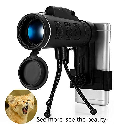 40X60 High Definition Monocular Telescope, Spotting Scope 2019 New Waterproof Anti-Fog Dual Focus with Smartphone Holder, Compass, Clip Tripod-Night Vision FMC BAK4 Prism for 1,800 Yards Observation
