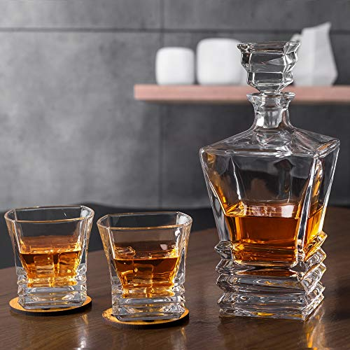 KANARS Crystal Whiskey Decanter And Glass Set With Luxury Gift Box - The Original Liquor Decanter Set For Scotch, Bourbon, Irish Whisky And Godmother Cocktail, 5-Piece by KANARS (Image #9)