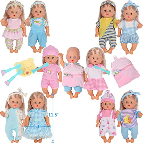 11 Inch Doll Clothes - 10pcs for 10-11-12 Inch Baby Doll Clothes Dress Reborn Newborn Doll Accessories Gown Costumes Outfits with Schoolbag Kitchen Toy Xmas Gift-wrap