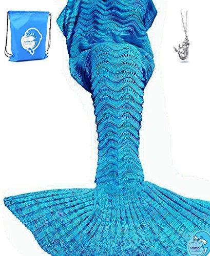 LAGHCAT Mermaid Tail Blanket Knit Crochet Mermaid Blanket for Adult, Oversized Sleeping Blanket, Wave Pattern (75x35.5,Peacock Blue)