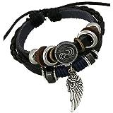 TEMEGO Jewelry Mens Womens Alloy Genuine Leather Surfer Wrap Bracelet, ...