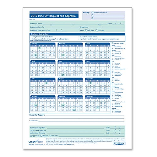ComplyRight 2019 Time Off Request & Approval Calendar, 50 Pack