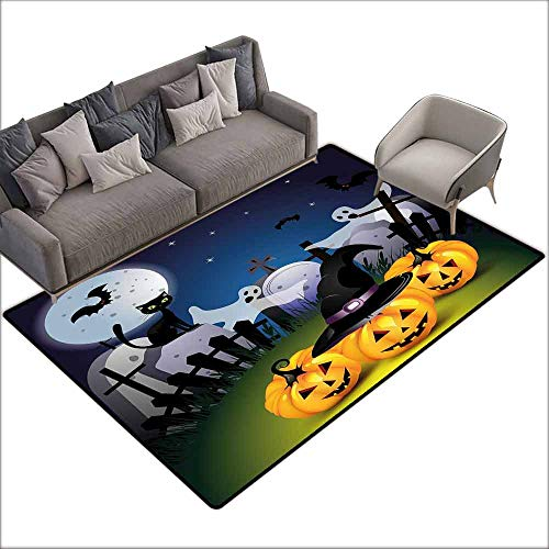 (Thin Non-Slip Kitchen Bathroom Carpet Colorful Halloween,Funny Cartoon Design with Pumpkins Witches Hat Ghosts Graveyard Full Moon Cat,Multicolor 64