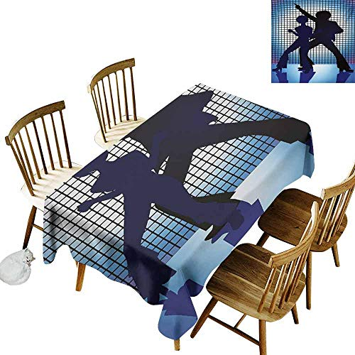 Mannwarehouse 70s Party Polyester Tablecloth Couple Silhouettes on The Dance Floor in Night Life Oldies Seventies Fun Party W60 x L120 Blue Purple Black]()