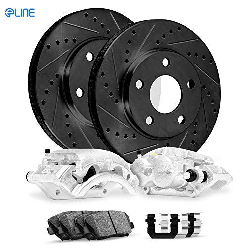 For 2013-2015 Hyundai Tucson FRT Calipers+ Black Drill Slot Brake Rotors+Pads