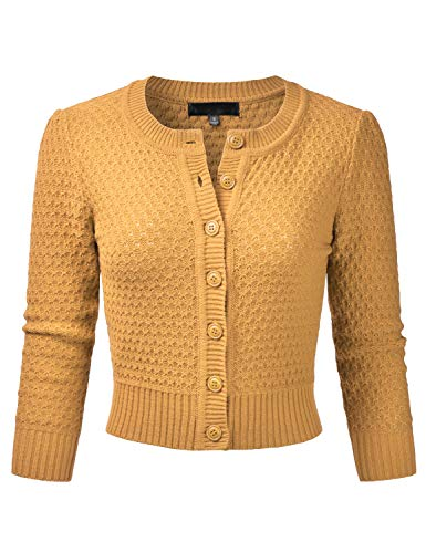 (EIMIN Women's Crewneck Button Down 3/4 Sleeve Knit Crop Cardigan Sweater Honey XL )