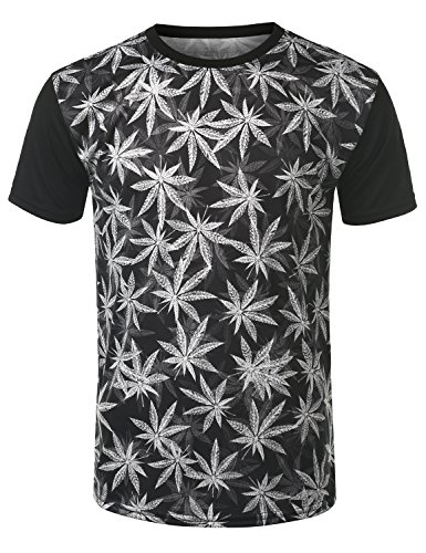 URBANCREWS Mens Hipster Hip Hop Marijuana Crewneck T-shirt BLACK MEDIUM ec0a3a643ec8