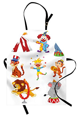 Ambesonne Circus Apron, Cartoon Style Composition of Cute