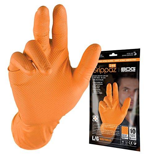 Bob Dale Gloves 9916100PL Grippaz Orange Nitrile Disposable 6Mil Pack,