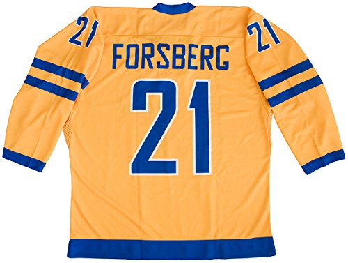 Sublimated Hockey Jersey - Peter Forsberg Team Sweden Yellow Hockey Jersey (48 (Large))