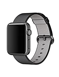 Apple Watch Band Pinhen Newest Fine Woven Nylon Strap Replacement Wrist Band With Stainless Metal Clasp For Apple Watch iWatch Series 1 Series 2 (42MM Black)