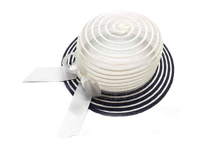 vendita a buon mercato nel Regno Unito elegante nuova collezione Cappello Beige Righe Blu Bombetta Bambina Bimba Elegante Cerimonia ...