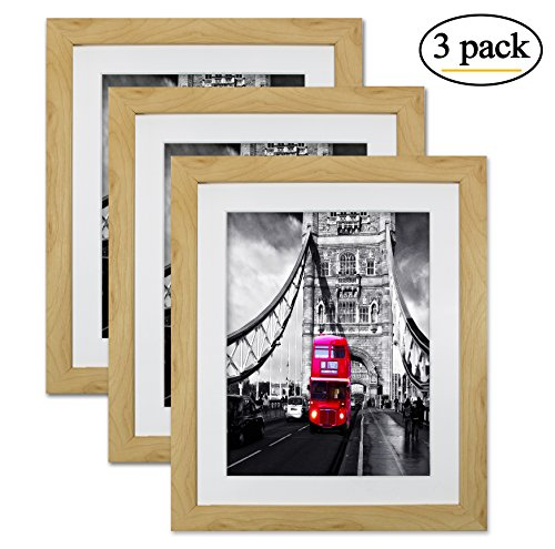 8 by 10 Log Picture Frame Photo Wall Tabletop Frames with Stand Set of 3 for Pictures 6x8 with Mat or 8x10 Without Mat for Wall (Log Frame)