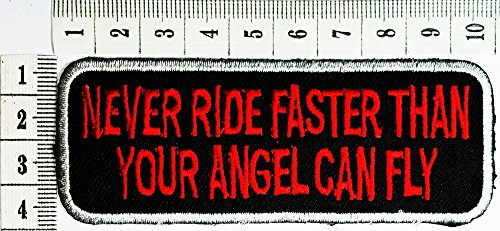 Naver Ride Faster Than Your Angel Can Fly Funny Patch Motorcycles Outlaw Hog Mc Biker Rider Hippie Punk Rock Iron On Patch   Sew On Patch Clothes Bag T Shirt Jeans Biker Badge Applique