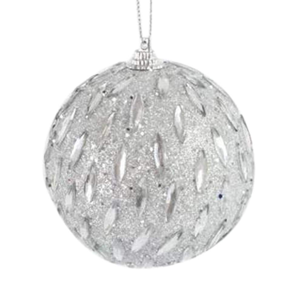 Kimanli Christmas Grain Rhinestone Glitter Balls Party Ornaments Christmas Tree Hanging Decor Gifts Hot ! (White)