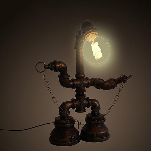 Antigua lámpara de mesa, línea de agua Robot luz nocturna ...