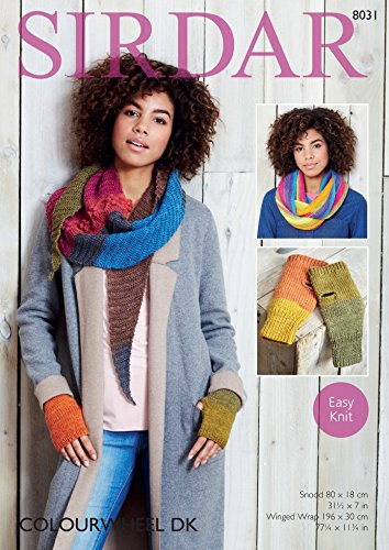 Sirdar Ladies Snood, Wrap & Mittens Colourwheel Knitting Pattern 8031 DK Sirdar Yarn Patterns