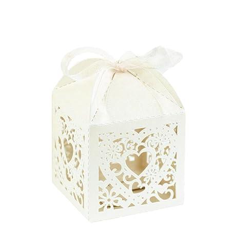 Elegant Favour Boxes Laser Heart White Ivory 10pcs Party Favour