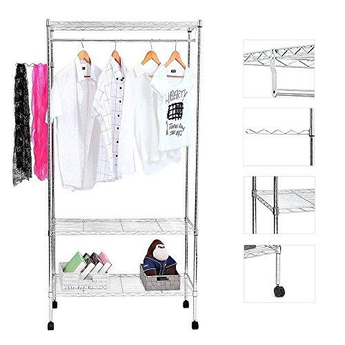 Coating Mesh Garment Rack Hanger 900x450xH1800 Double Layer Electroplate by Aromdeeshopping