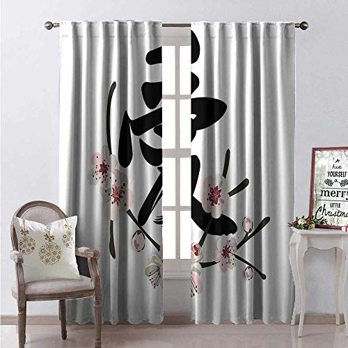 Hengshu Kanji Waterproof Window Curtain Sweet Illustration of Chinese Love Word Cherry Blossom Decorative Curtains for Living Room W108 x L108 Charcoal Grey Blush Eggshell White