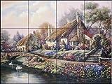 Ceramic Tile Mural - Village of Selworthy - by Carl Valente - Kitchen backsplash/Bathroom Shower