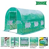 Z ZTDM 12'×7'×7′ Outdoor Large Green House Walk in Greenhouses Tents Plants Gardening Backyard Protective Shed Nursery Grow (12'×7'×7′) Review