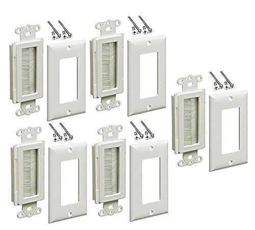 iMBAPrice Brushed Wall Plate - Decora Style Cable Pass Through Insert for Wires Wall Socket Plug Port/HDTV/HDMI/Home Theater Systems and More (Pack of 5) - White