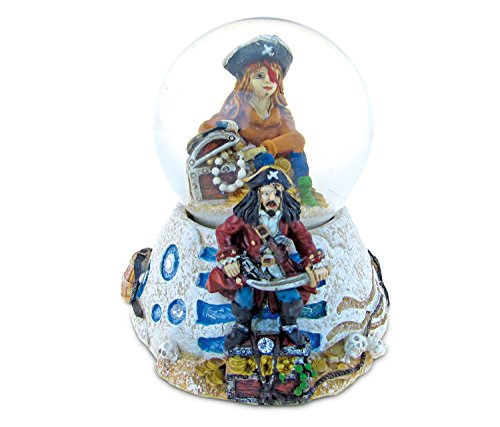 CoTa Global Pirate Snow Globe Dome Resin Captain w/ Treasure Chests Dome Collection Ocean Life Nautical Aquatic Marine Theme Room Decor Table Top Accent Size: 3.55 x 3.75 inches Novelty Craft Gift