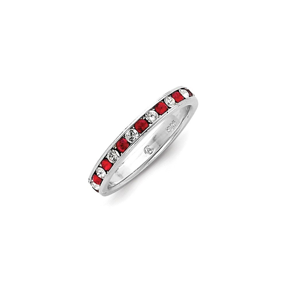 Solid .925 Sterling Silver Red /& White CZ Eternity Band