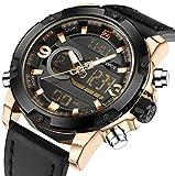Multifunctional Digital Black Leather LED Sport Men Watches Gold Military Men's Quartz Wrist Watch