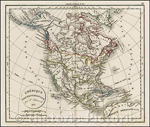 - Historic Map | Amerique Septentrionale, 1831, Felix Delamarche | Vintage Wall Art 52in x 44in
