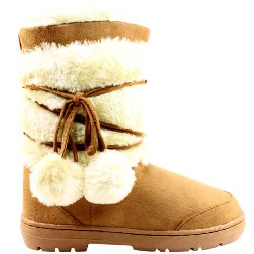 Womens Pom Pom Waterproof Winter Snow Boots Tan FHxQMLch0