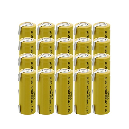 20x Exell 4/5A 1.2V 1200mAh NiCD Rechargeable Batteries with Tabs for medical instruments/equipment, electric razors, toothbrushes, radio controlled devices, electric tools -