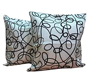 """THAI STYLES""""""""(DOUBLE) 2 BLACK LINE DESIGN THROW CUSHION COVER/PILLOW CASE BY THAI SILK AND SATIN SIZE 17X17 INCHES FOR DECORATIVE SOFA AND LIVING ROOM"""