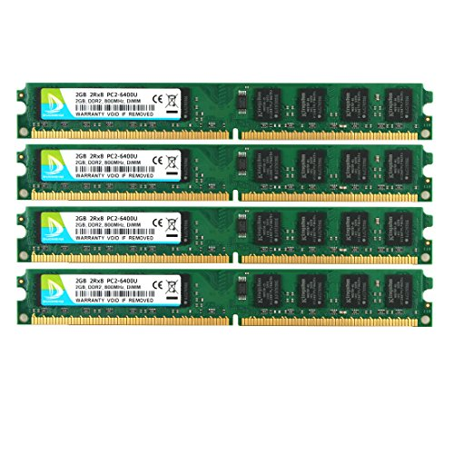 6400 System - DUOMEIQI 8GB Kit(4X 2GB)2RX8 DDR2 800MHz DIMM PC2-6300 PC2-6400 CL6 1.8v 240 Pin Non-ECC Unbuffered Desktop Memory RAM Module Compatible with Intel AMD System