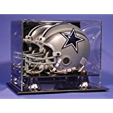 Mini Football Helmet Personalized Laser Etched Acrylic Display Case with Gold Risers