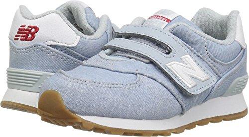 New Balance Girls' 574v1 Beach Chambray Hook Loop Sneaker, Light Porcelain Blue, 7.5 W US (Porcelain Leather)