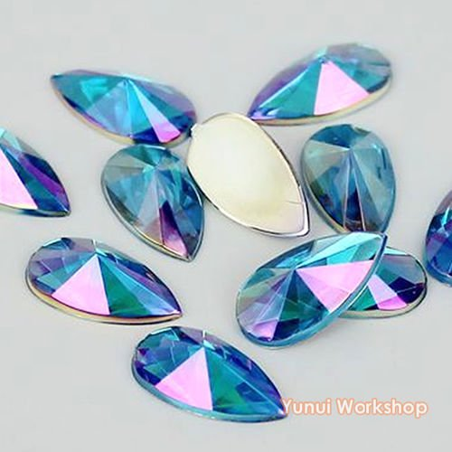 Face Teardrop - (Lake Blue AB, 9mm x 18mm, 200pcs) Teardrop Shape Pointed Face Acrylic Flat Back Rhinestones Cabochons Deco Scrapbooking Nail Craft - Iridescent