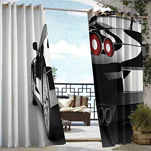 Fashions Drape Cars Decor Collection,Rear View of A Modern Automobile with Wealthy Car Objects and Properties Fast Wheel Life Photo,Black,W72
