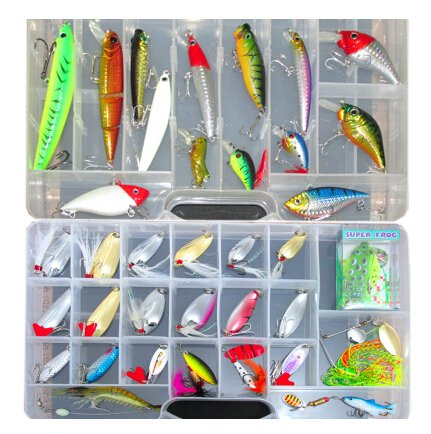 1 Set (36 Pcs) Exquisite Fishing Lure Tackle Kit Bionic Frog Minnow Metal Sequins Spoon Spinner Shrimp Colorful Lure with Sharp Hooks (Eco Lure)