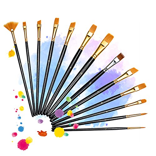 13 Pieces Paint Brushes, Atmoko Artist Paint Brushes Set for Watercolor, Acrylic & Oil Paintings, Perfect for Painting Canvas, Ceramic, Clay, Wood & Models, Great Gift for Kids, Artists and Amateurs (Fans Clay)