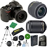 Nikon D5200 - International Version (No Warranty), 18-55mm f/3.5-5.6 DX VR, Nikon 55-200mm f4-5.6G VR, Tripod, 6pc Cleaning Set