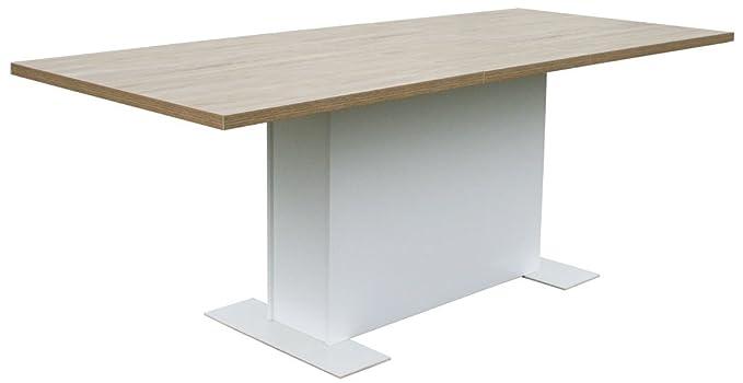 KMH®, Ausziehbarer Esszimmertisch Steffen 160-205 x 110 cm (Eichen-Dekor) (#205610)