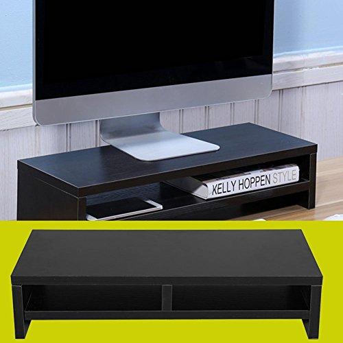 Computer Monitor Riser Desk LED TV Stand Shelf Desktop Laptop Entertainment Center (Black)