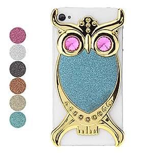 (CASEI)Hi-Q Golden Owl Pattern Flash Powder Hard Case for iPhone 4 , Rose