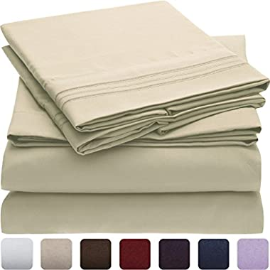 Mellanni Bed Sheet Set - Brushed Microfiber 1800 Bedding - Wrinkle, Fade, Stain Resistant - Hypoallergenic - 4 Piece (King, Beige)