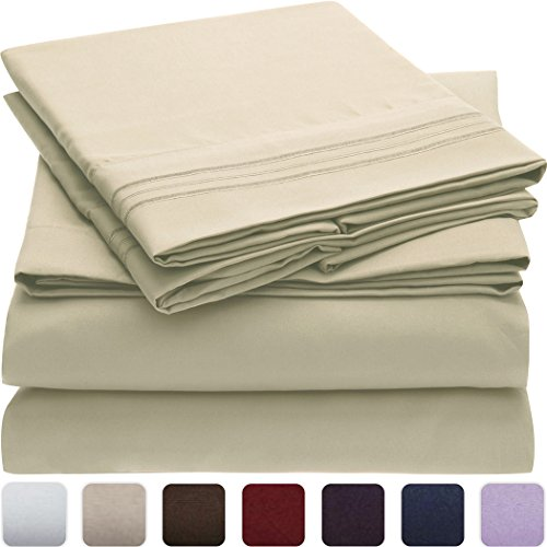 #1 Bed Sheet Set   HIGHEST QUALITY Brushed Microfiber 1800 Bedding    Wrinkle, Fade, Stain Resistant   Hypoallergenic   Mellanni (Queen, Beige)