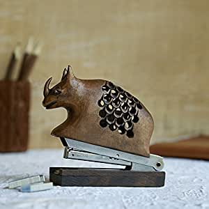 Thanksgiving Gifts Wooden Hand Carved Stapler With Rhino Design Desk Decor 3.5 X 1.5 X 3.5 Inches